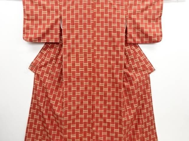 リサイクル 縞に絣横段模様織り出し手織り紬着物【送料無料】
