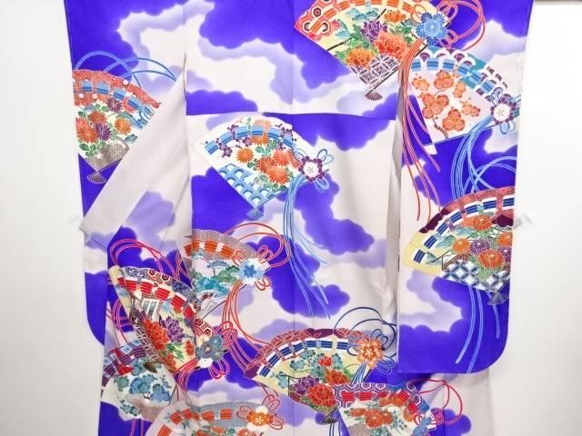 リサイクル 未使用品 桧扇に草花模様刺繍振袖・長襦袢・袋帯セット【送料無料】