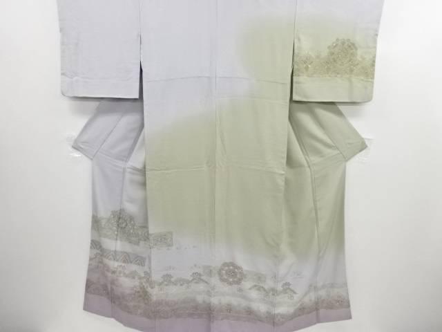リサイクル 汕頭蘇州刺繍横段に華紋更紗模様訪問着・長襦袢セット【送料無料】