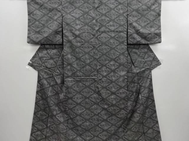 リサイクル 草木染菱模様手織り節紬着物【送料無料】