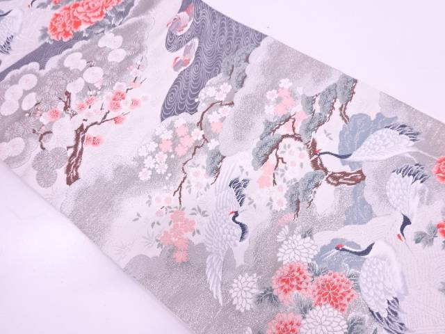 リサイクル プラチナ箔群鶴に草花模様織出し袋帯【送料無料】