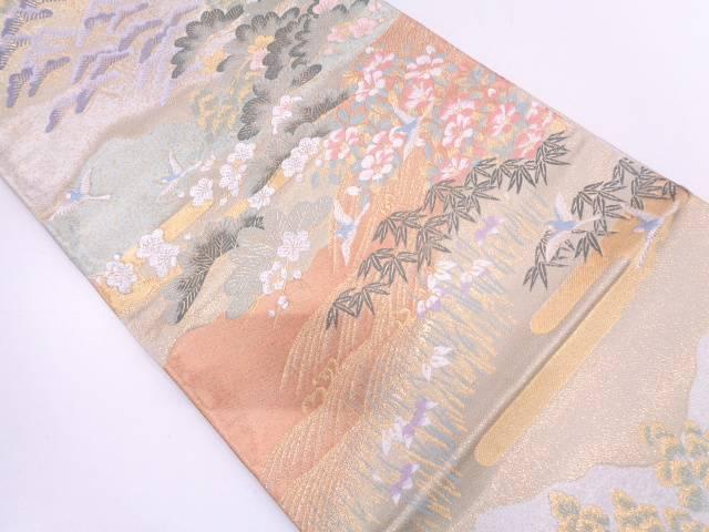 【セール30%オフ】リサイクル 花鳥に松笹模様織出し袋帯   【送料無料】