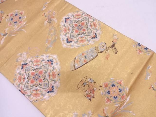 【セール30%オフ】リサイクル 古楽器に花鳥模様織出し袋帯  【送料無料】