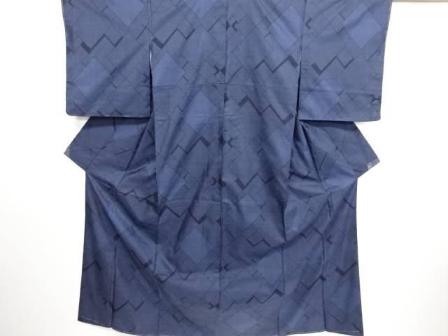 リサイクル 未使用品 幾何学模様織り出し本場泥大島紬着物(9マルキ)【送料無料】