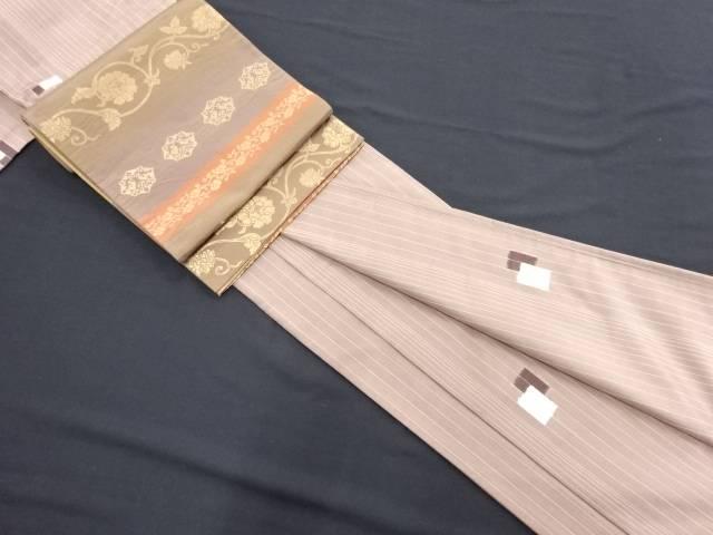 リサイクル 縞に枡模様織り出し手織りたて節紬着物・袋帯セット【送料無料】