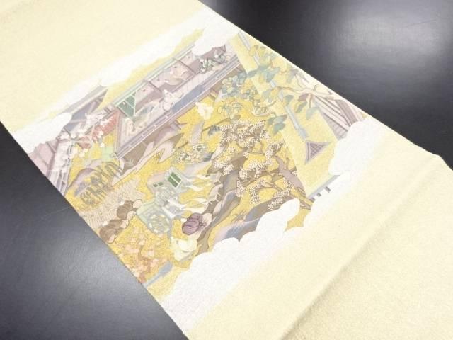 リサイクル 明綴れ金銀糸平安貴族風景模様織り出し袋帯【送料無料】