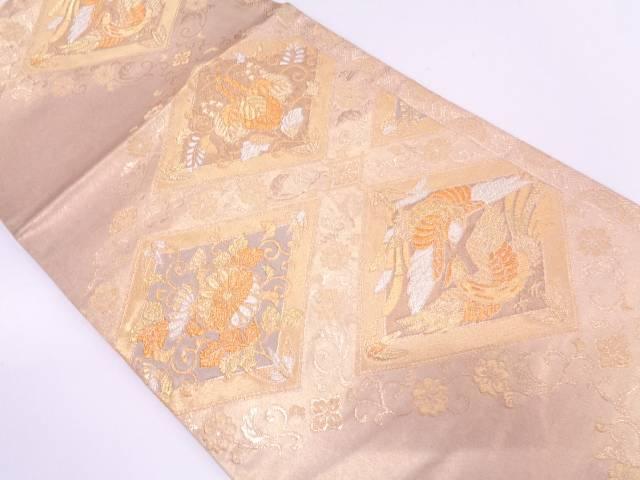 リサイクル 引き箔菱に向かい鳥・菊桐模様織出し袋帯【送料無料】