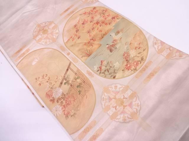 リサイクル 鴛鴦に秋草模様織出し袋帯【送料無料】