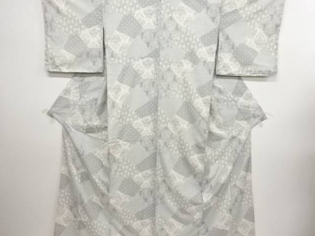 リサイクル 切りばめ風 花更紗模様手織り節紬着物【送料無料】