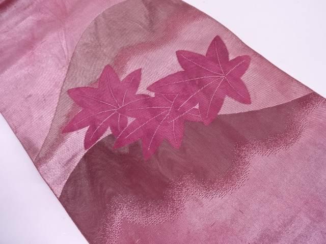 リサイクル  紗 山に紅葉模様織出し袋帯【送料無料】