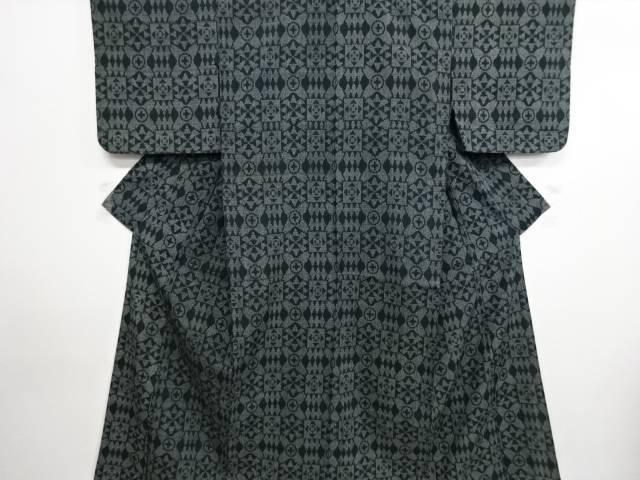 リサイクル 幾何学模様織り出し本塩沢単衣着物【送料無料】