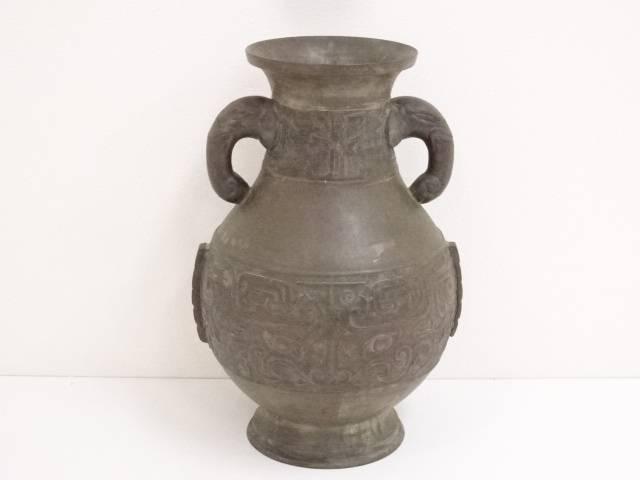 【華道】古物 銅饕餮紋花瓶【送料無料】