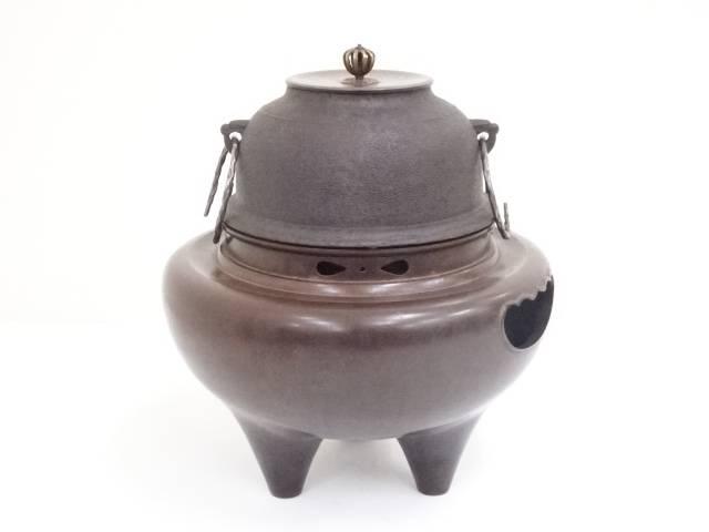 【茶道具】唐銅朝鮮風炉 高橋敬典造 真形釜【送料無料】