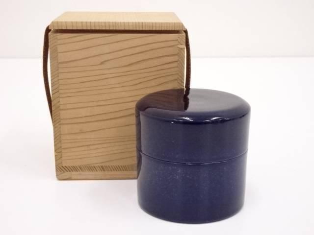 【茶道具】紺釉陶棗【送料無料】