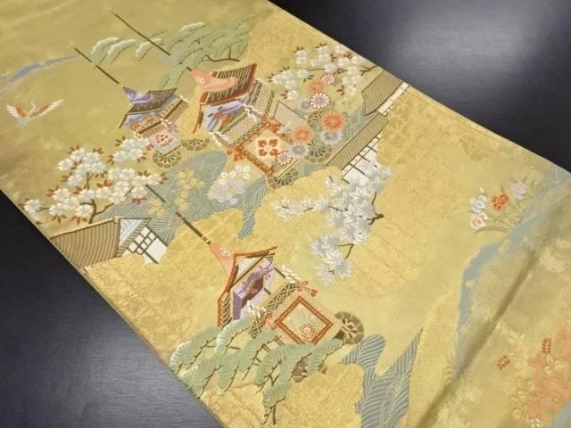 【セール30%オフ】リサイクル 引き箔山車に松桜・鶴模様織り出し袋帯【送料無料】