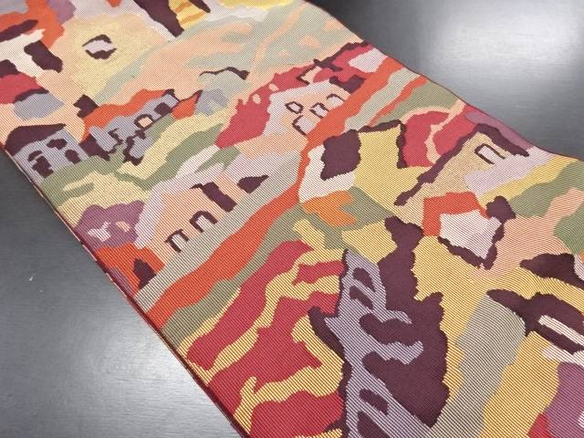 【セール30%オフ】リサイクル 抽象家屋風景模様織り出し全通袋帯【送料無料】