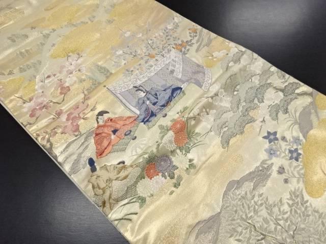 【セール30%オフ】リサイクル 本金箔家持観梅図織り出し袋帯【送料無料】