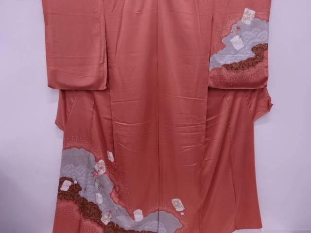 リサイクル B 絞り万寿菊に色紙模様刺繍訪問着仮絵羽(共八掛付)【送料無料】
