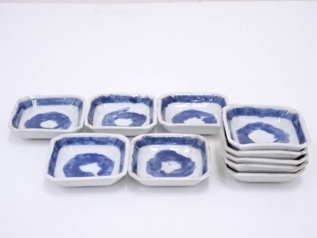 【陶芸・陶器】古物 染付小皿10客【送料無料】[和食器/お皿/取り皿/骨董]