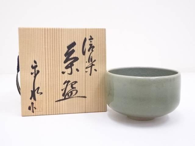 【茶道具】信楽焼 楽水造 青磁釉茶碗【送料無料】[和食器/抹茶碗/抹茶茶碗/茶道/茶器/茶道具/骨董/御茶]