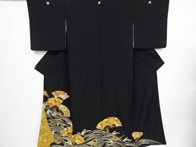 リサイクル 波に扇花七宝模様刺繍留袖(比翼付き)【送料無料】[和服/和装/着物/きもの]