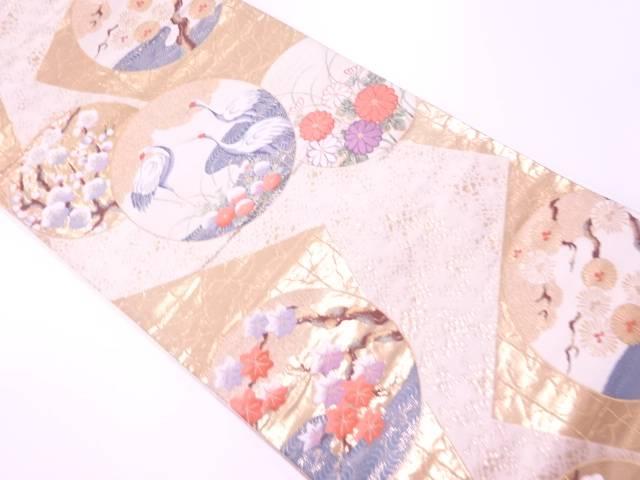 リサイクル 鶴に松梅模様織出し袋帯【送料無料】[和服/和装/着物/きもの/帯]