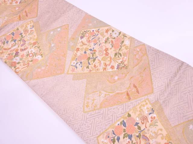 リサイクル 色紙に花鳥・古楽器模様織出し袋帯【送料無料】[和服/和装/着物/きもの/帯]