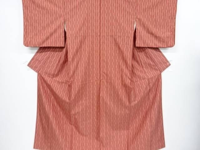 【歳末セール!40%オフ!】リサイクル 絣縞模様織り出し手織り紬着物【送料無料】[和服/和装/きもの]