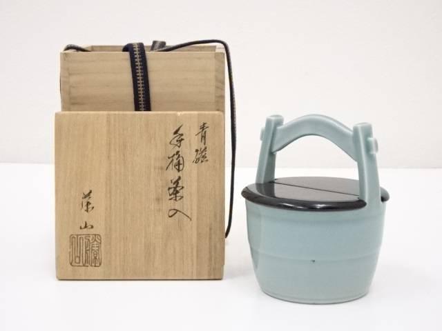 【茶道具】加藤藤山造 青磁手桶茶入【送料無料】[茶道/茶器/茶道具/骨董/御茶/茶入れ]