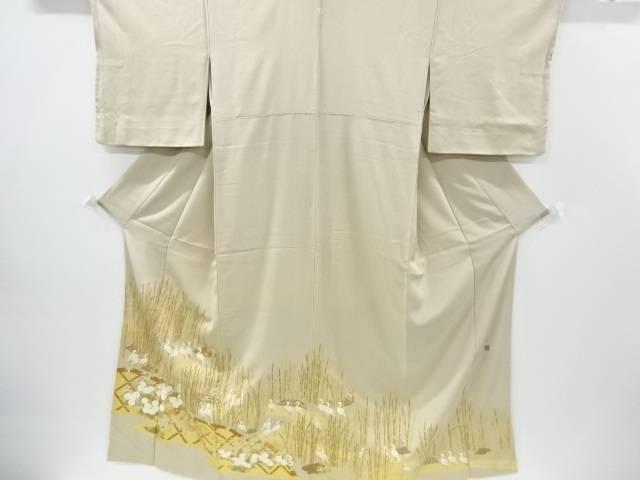 リサイクル 松尾光琳作 「木賊鷺乃図」刺繍一つ紋色留袖【送料無料】[和服/和装/着物/きもの]