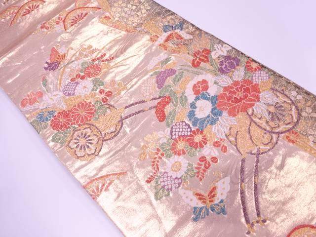【歳末セール!40%オフ!】リサイクル 花車に蝶模様織出し袋帯【送料無料】[和服/和装/着物/きもの/帯]