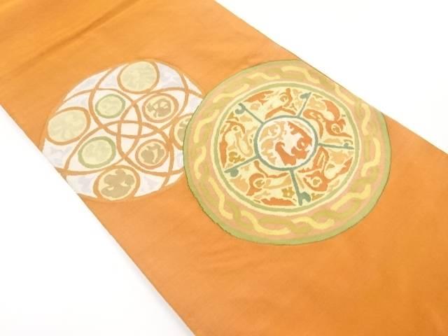 リサイクル 明綴れ絵皿模様織り出し袋帯【送料無料】[和服/和装/着物/きもの/帯]
