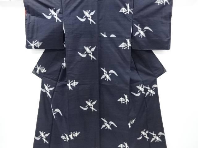 リサイクル 笹模様織り出し手織り真綿紬着物【送料無料】[和服/和装/きもの]