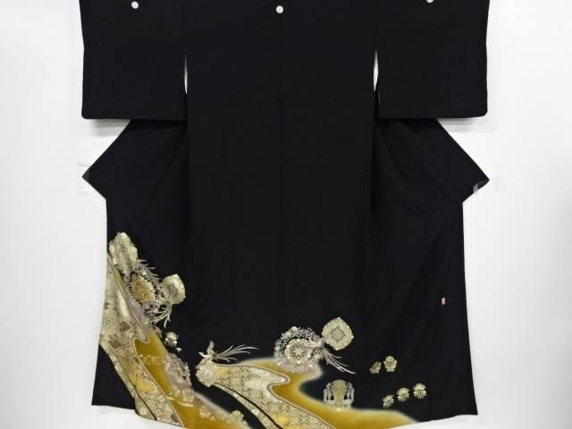 リサイクル 金彩華紋に鳳凰模様刺繍留袖(比翼付き)【送料無料】[和服/和装/着物/きもの]