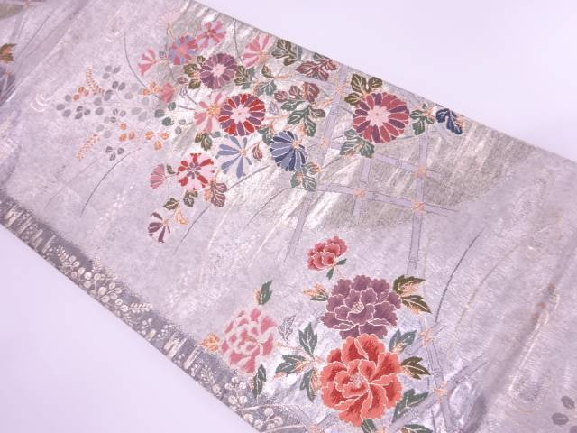 リサイクル 秋草模様織出し袋帯【送料無料】[和服/和装/着物/きもの/帯]