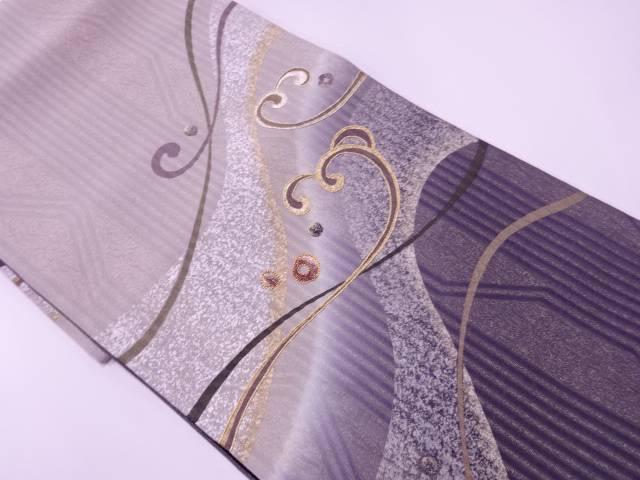 リサイクル ふくれ織金銀彩波模様刺繍袋帯【送料無料】[和服/和装/着物/きもの/帯]