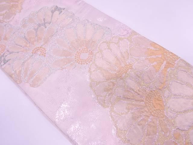 【歳末セール!40%オフ!】リサイクル 花模様織出し袋帯【送料無料】[和服/和装/着物/きもの/帯]