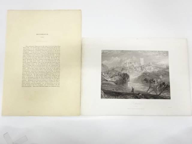 【書画】1838 銅版画 ターナーRichmond Yorkshire【送料無料】[掛軸/掛け軸/年中掛け/床の間/表具/書/絵画]