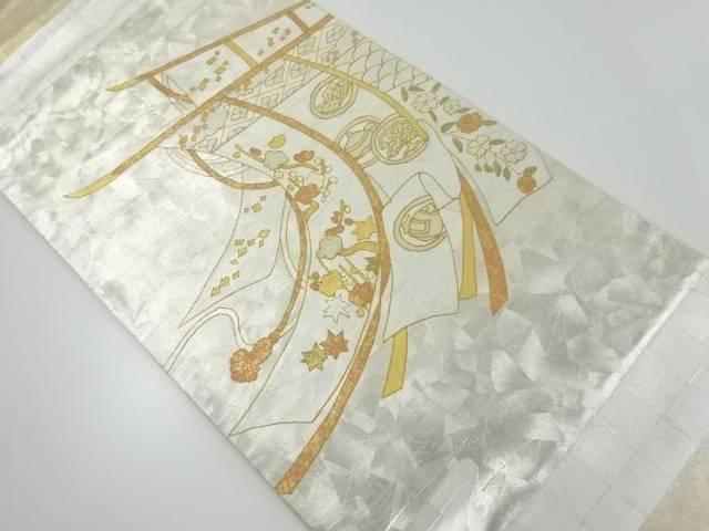 リサイクル 引箔几帳に宝尽くし模様織出袋帯【送料無料】[和服/和装/着物/きもの/帯]