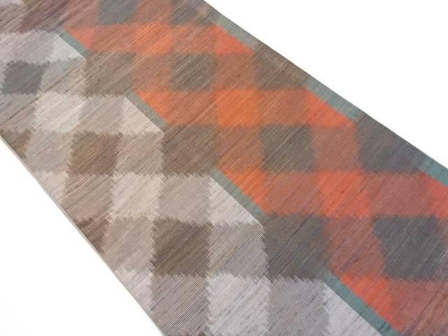 リサイクル 手織り節紬市松模様織り出し全通袋帯【送料無料】[和服/和装/着物/きもの/帯]