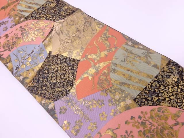 【歳末セール!40%オフ!】リサイクル 服部織物製 地紙に鶴・花鳥模様織出し袋帯【送料無料】[和服/和装/着物/きもの/帯]