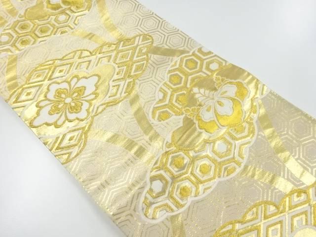 リサイクル 雲取に花菱桐模様織出袋帯【送料無料】[和服/和装/着物/きもの/帯]