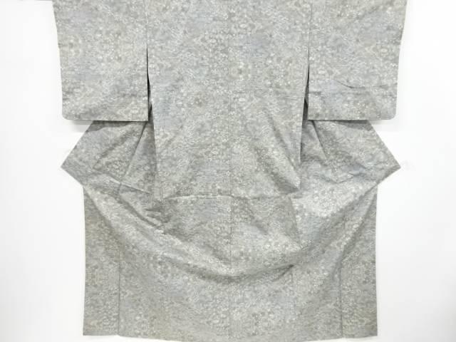 【茶道具・着物】送料無料 リサイクル 草花に抽象風景模様織り出し本場大島紬着物【送料無料】