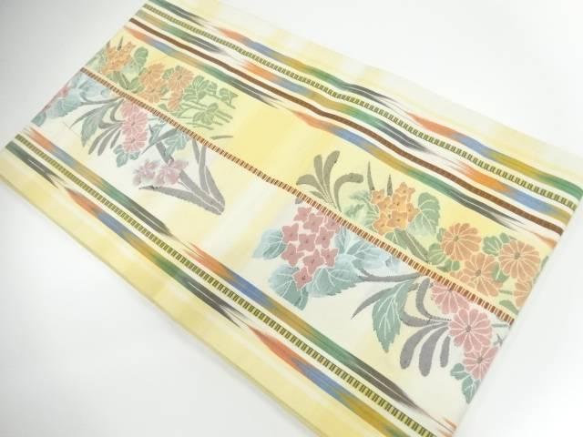 リサイクル 未使用品 縞に草花模様織出し袋帯【送料無料】[和服/和装/着物/きもの/帯]