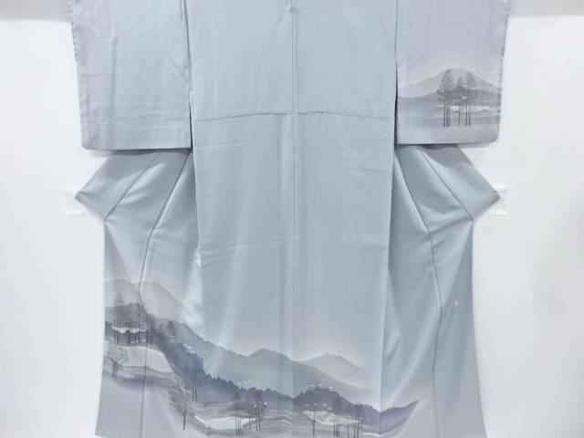 リサイクル 作家物 遠山に樹木・湖模様一つ紋訪問着・長襦袢セット【送料無料】[和服/和装/着物/きもの]