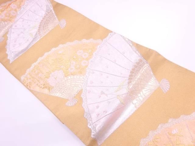 リサイクル 扇に孔雀・草花模様織出し袋帯【送料無料】[和服/和装/着物/きもの/帯]