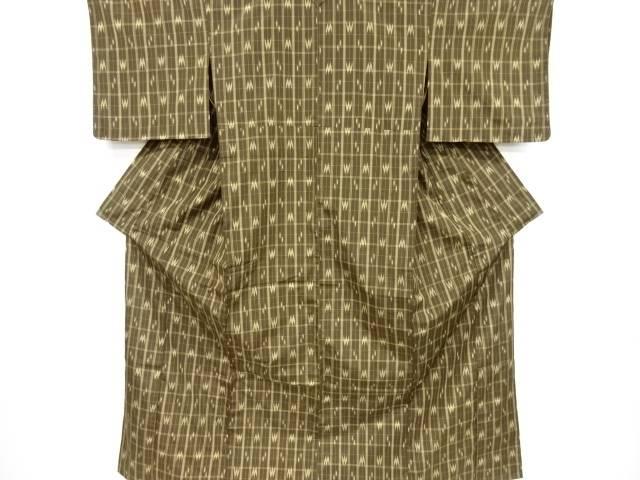 未使用品 仕立て上がり 格子に絣柄織り出し米沢紬単衣着物【送料無料】[和服/和装/きもの]