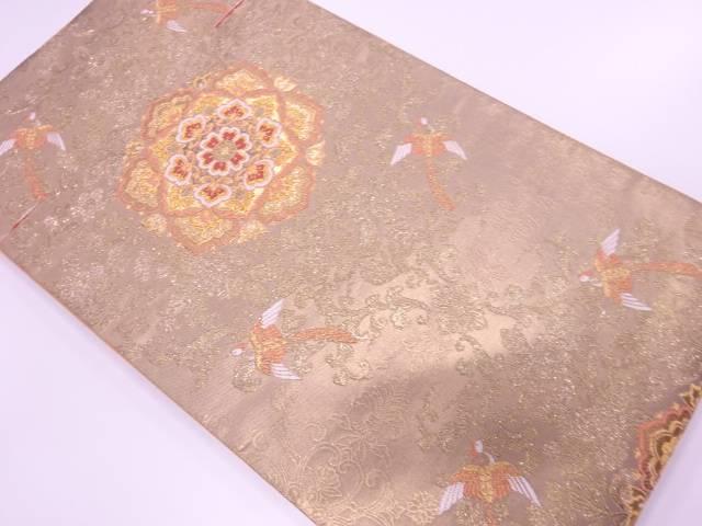 【歳末セール!40%オフ!】リサイクル 未使用品 華紋に花鳥模様織出し袋帯【送料無料】[和服/和装/着物/きもの/帯]