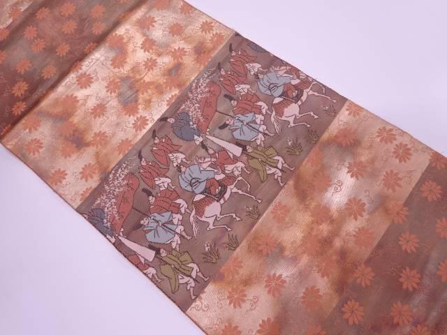 リサイクル 横段に時代人物・花唐草模様織出し袋帯【送料無料】[和服/和装/着物/きもの/帯]