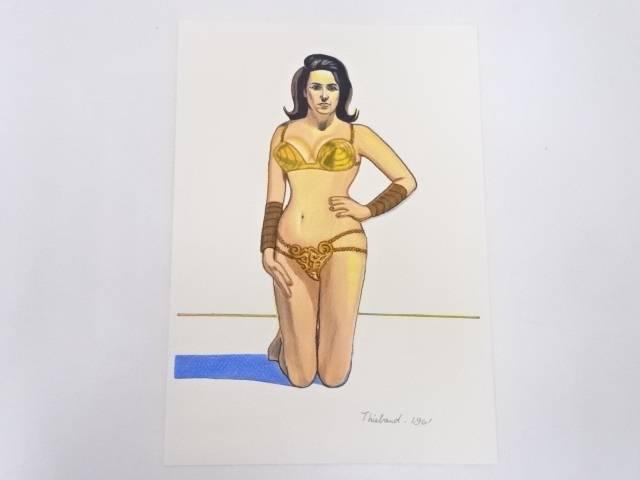 【アンティーク】絵画 ウェイン・ティーボー 女の肖像 パステル画【送料無料】